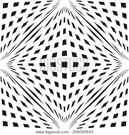 Vector geometric checkered pattern. Black & white seamless texture with cubic shapes. 3D volume, optical illusion effect. Modern monochrome abstract background. Pop art style. Repeat design for prints. 3d pattern. Geometric pattern.