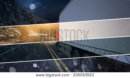 Truck driving in any weather conditions for forwarding agency (3D Rendering)