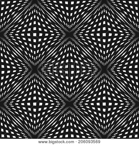 Vector geometric checkered pattern. Black & white seamless texture with crossing lines, stripes, cubic, shapes. Optical illusion effect. Modern monochrome abstract background, repeat tiles. Pop art. Design pattern.