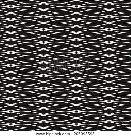 Vector seamless pattern with horizontally elongated mesh, lattice, fabric. Abstract geometric texture with thin interlaced lines. Delicate monochrome background, repeat tiles. Dark design element.