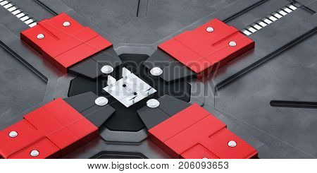 Robot nanotechnology production factory machine (3D Rendering)