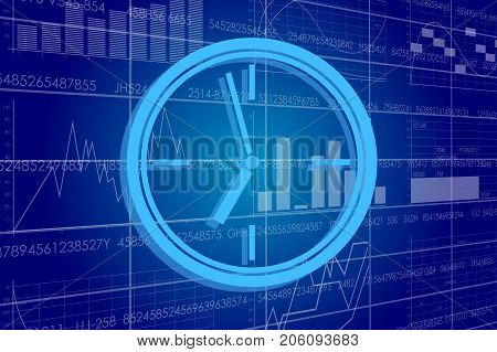 Vector illustration of the global business and digital technologies. Clock on the background of the scoreboard with stock charts.