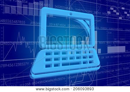 Vector illustration of the global business and digital technologies. Computer on the background of the scoreboard with stock charts.