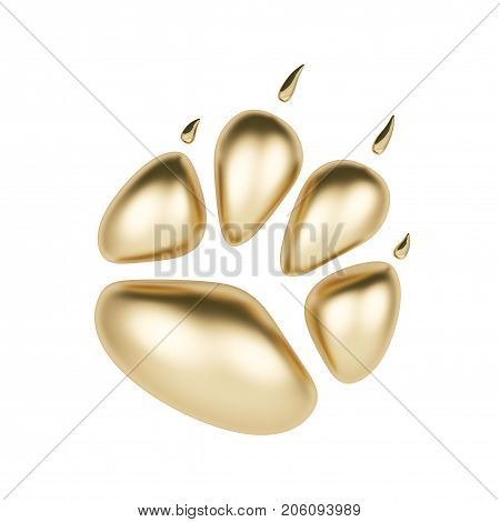 Golden paw print logotype or icon isolated on white background. Dog paw footprint logo 3d rendering. Year of Dog.