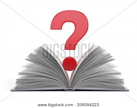 Question mark symbol on open book isolated on white - 3d rendering