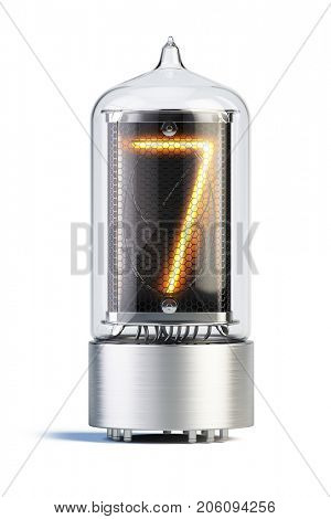 Nixie tube indicator isolated on white - set of decimal digits. Number 7. 3d rendering