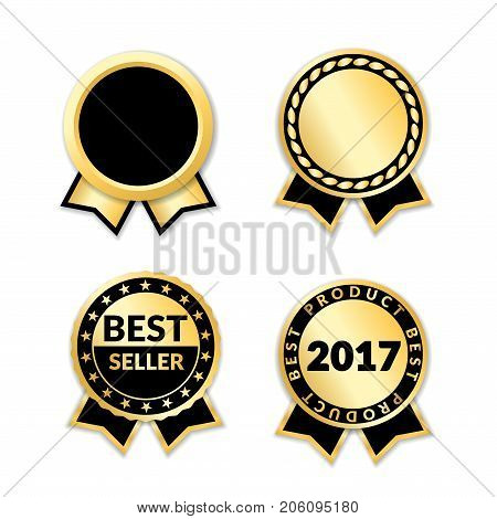 Ribbon awards best seller set. Gold ribbon award icons isolated white background. Bestseller golden tags sale label badge medal guarantee quality product certificate. Vector illustration