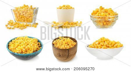 Collage of corn kernels on white background