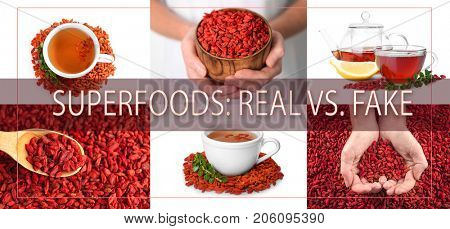 Collage with goji berries. Text SUPERFOODS: REAL VS FAKE on background