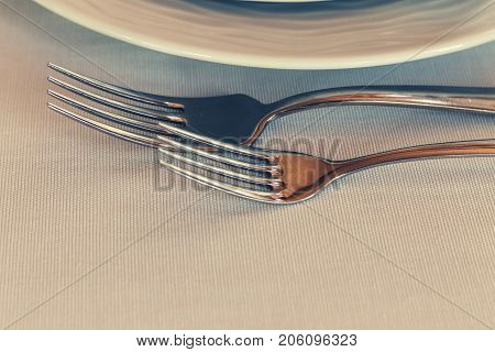 Cutlery in the restaurant. set of cutlery knife spoon fork. serving