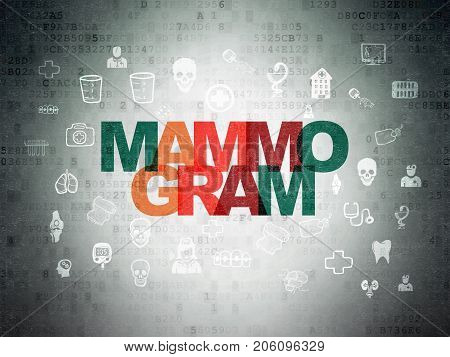 Medicine concept: Painted multicolor text Mammogram on Digital Data Paper background with  Hand Drawn Medicine Icons