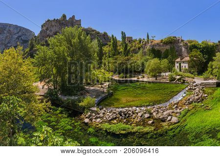 Village Fontaine-de-Vaucluse in Provence France - travel and architecture background