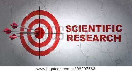 Success Science concept: arrows hitting the center of target, Red Scientific Research on wall background, 3D rendering