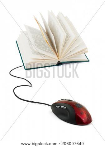 Computer mouse and book - e-learning concept