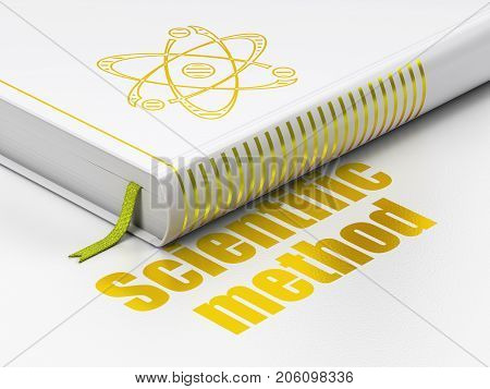 Science concept: closed book with Gold Molecule icon and text Scientific Method on floor, white background, 3D rendering