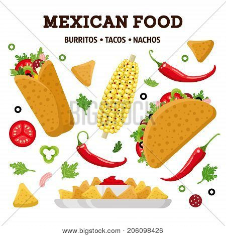 Mexican food set. Burrito, taco, nacho. Colorful vector illustration, cute style, isolated on white background