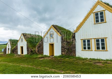 Traditional turf houses in Glaumbaer, Iceland