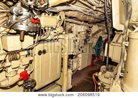 Interior of combat submarine compartment with devices of control