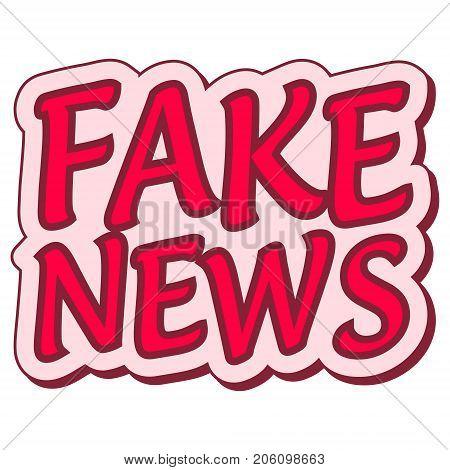 fake news sticker retro speech balloon, fake news label, pop art style