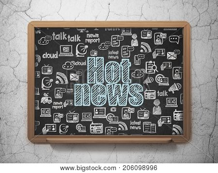 News concept: Chalk Blue text Hot News on School board background with  Hand Drawn News Icons, 3D Rendering