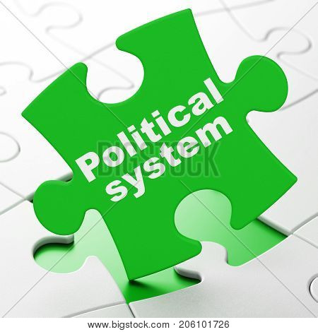 Politics concept: Political System on Green puzzle pieces background, 3D rendering