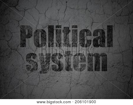 Political concept: Black Political System on grunge textured concrete wall background