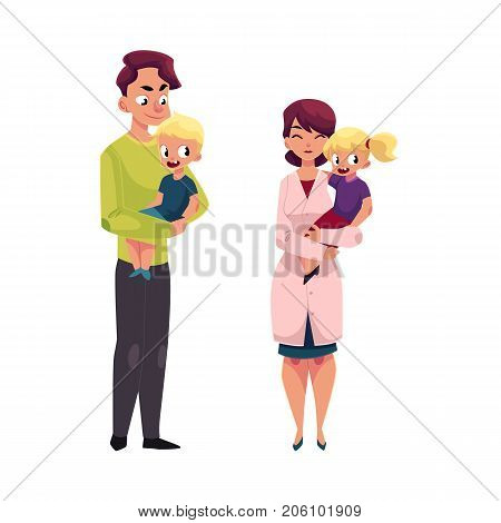 Woman doctor, pediatrician and young father holding little girl and boy, cartoon vector illustration isolated on white background. Cartoon doctor, pediatrician and young father - holding boy and girl