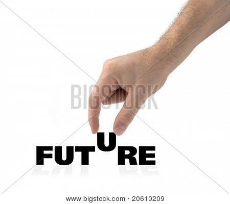 Mão e a palavra futura isolado no branco, criando um conceito