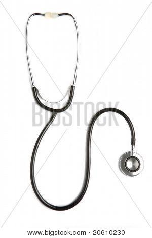 Black stethoscope isolated on white background