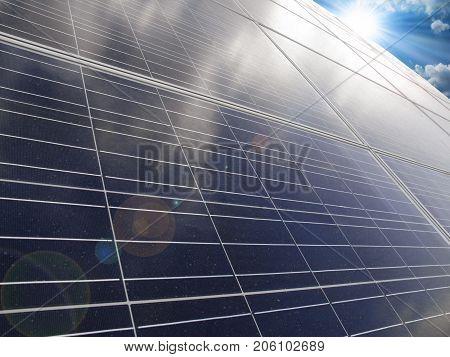 Renewable alternative solar energy sun-power plant on sky background