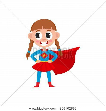 vector flat cartoon girl kid in fancy super woman costume with red cape smiling. Child female character. Isolated illustration on a white background. Daily routine concept