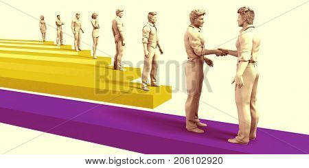 Employment Job Hiring Concept as Perfect Employed Candidate 3D Illustration Render