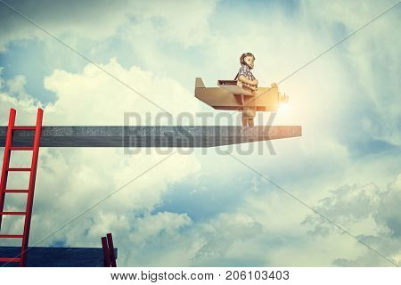 child act like aviator on 3d platform