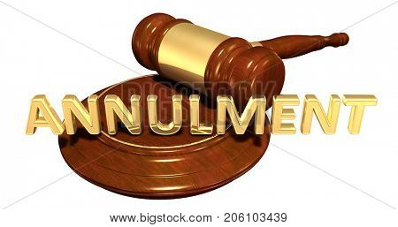 Annulment Legal Gavel Concept 3D Illustration
