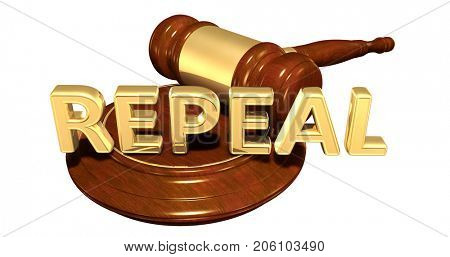 Repeal Legal Gavel Concept 3D Illustration