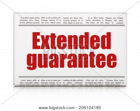 Insurance concept: newspaper headline Extended Guarantee on White background, 3D rendering