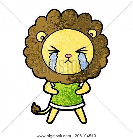cartoon crying lion