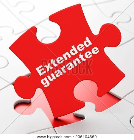Insurance concept: Extended Guarantee on Red puzzle pieces background, 3D rendering