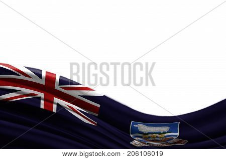 Grunge colorful flag Falkland Islands with copyspace for your text or images,isolated on white background. Close up, fluttering downwind.