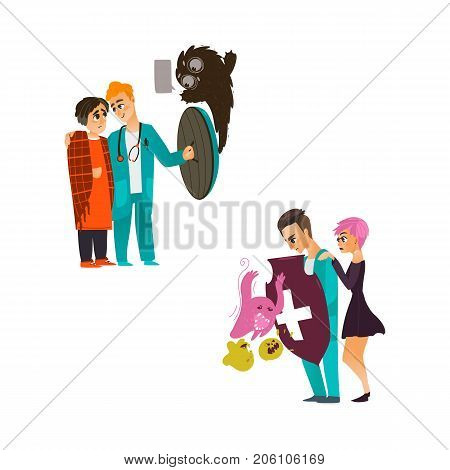 vector flat cartoon male doctor holding shield protecting patients from mental illness - germs, microbs fear or phobia set. Isolated illustration on a white background
