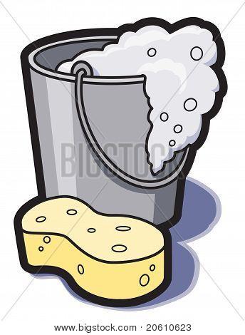 Bucket of water and sponge