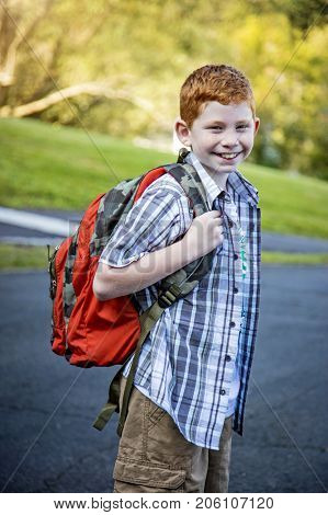 Young boy headed to school