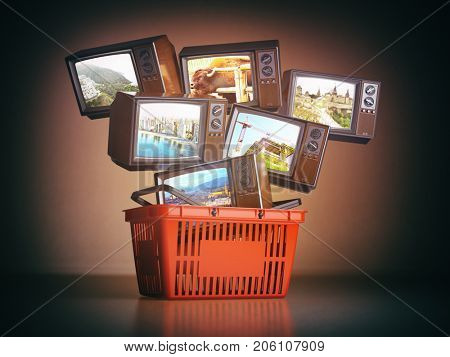 Shopping backet and old TV sets with different channels on the screens. Advertising tv channels concept. 3d illustration