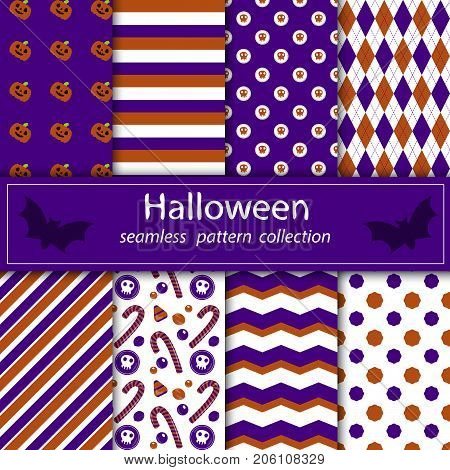 A set of paintings. Stock vector seamless plum fabric Halloween orange purple. happy and merry holiday.
