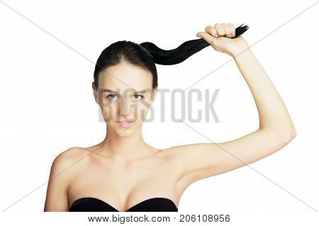 Attractive Girl with Fresh Skin Looking at Camera on White