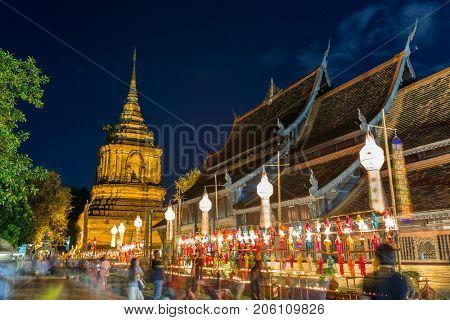 Yi Peng festival in Wat  Phan Tao Temple in Chiang Mai, Thailand