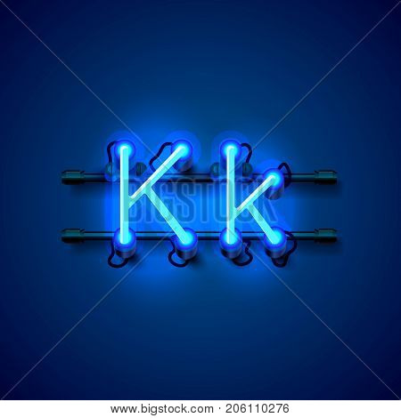 Neon font letter k, art design singboard. Vector illustration