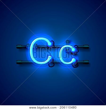 Neon font letter c, art design singboard. Vector illustration