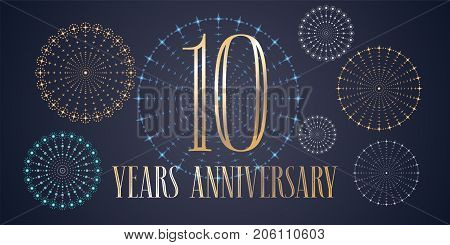 10 years anniversary vector icon, logo. Template design, banner with fireworks for 10th anniversary greeting card, can be used as decoration element