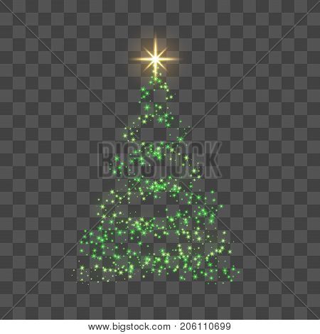 Green Christmas Tree On Transparent Background Happy New Year Vector Illustration